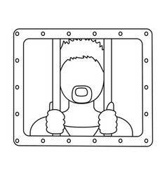 Prisoner icon in outline style isolated on white vector
