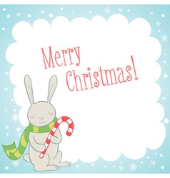Cute bunny Christmas greeting card vector image