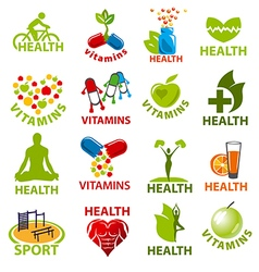 large set of logos for health vector image vector image