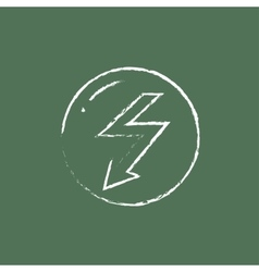 Lightning arrow downward icon drawn in chalk vector image vector image