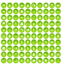 100 ball icons set green circle vector