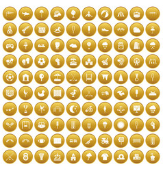 100 childrens playground icons set gold vector