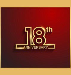 18 anniversary line style golden color vector