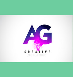 Ag a g purple letter logo design with liquid vector