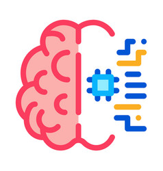 ai brain chip icon outline vector image