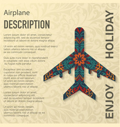 Airplane floral pattern background vector
