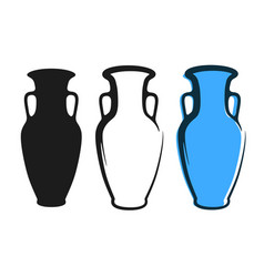 amphora image in blue color and silhouettes in vector image