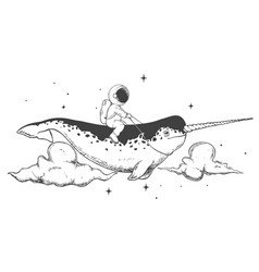 Astronaut flying on narwhal vector