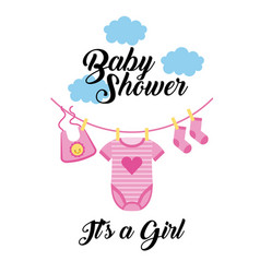 Baby shower its a girl clothes hanging with cloud vector