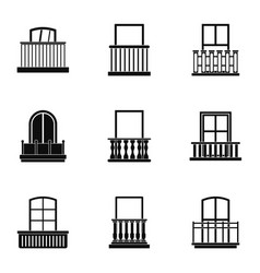 Balcony icon set simple style vector