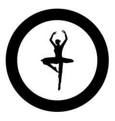 ballet dancer icon black color in circle vector image