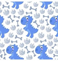 Blue dinosaur rex seamless pattern vector