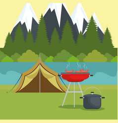 Camping zone with tent scene vector