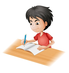 cartoon boy sketching vector image