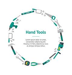 cartoon hand tools banner card circle vector image