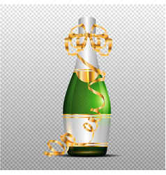 Champagne with gold curly ribbon on transparent vector