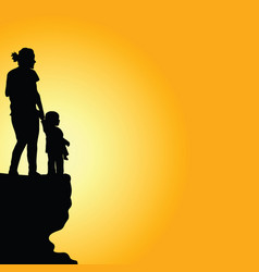 Child with mother on cliff silhouette vector
