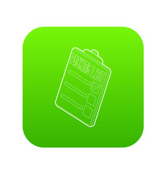 Clipboard with packing list icon green vector