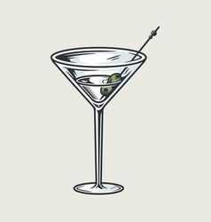cocktail martini glass with olives bar menu vector image