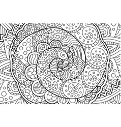 coloring book page with abstract art with spiral vector image