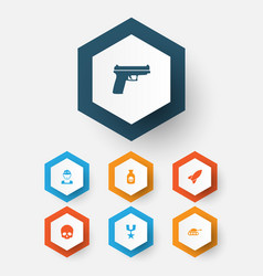 Combat icons set collection of order cranium vector