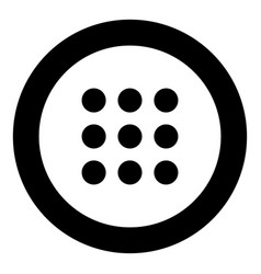 Dial button icon black color in circle vector