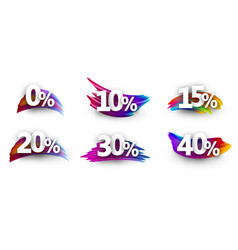 discount tags with percent and colorful brush vector image