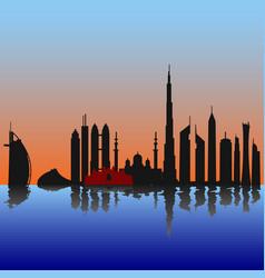 dubai skyline at sunset sunrise with reflection vector image