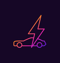 electric car with lightning colorful linear vector image