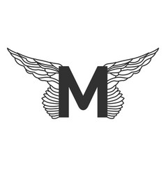 elegant dynamic letter m with wings linear design vector image