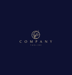 Elegant golden logo on which an abstract vector