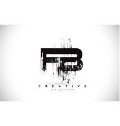 Fb f b grunge brush letter logo design in black vector