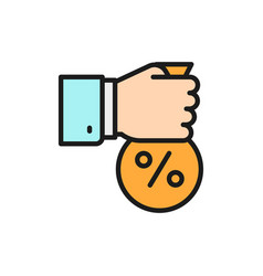 Fixed interest rate hand with money bag flat vector