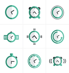 Flat icon Time Clock Icons Set Design vector image