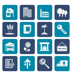Flat Real Estate and building icons vector