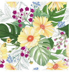 Floral seamless pattern garden flower summer vector