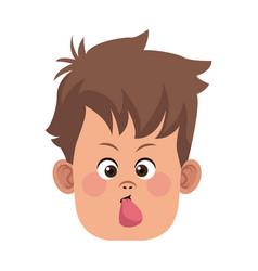 funny boy face vector image