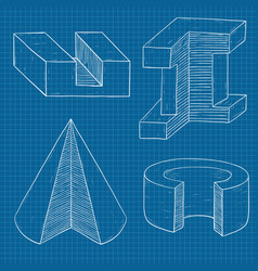 geometric figures hand drawn sketch on blueprint vector image