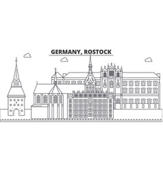 Germany rostock line skyline vector