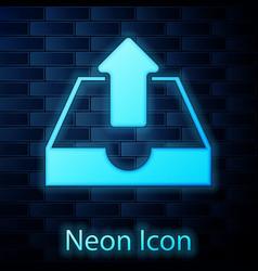 Glowing neon upload inbox icon isolated on brick vector