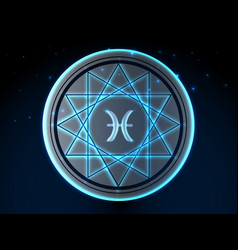glowing zodiac symbol vector image
