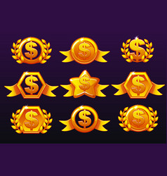 Gold templates dollar icons for awards creating vector