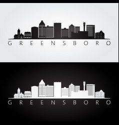 greensboro usa skyline and landmarks silhouette vector image