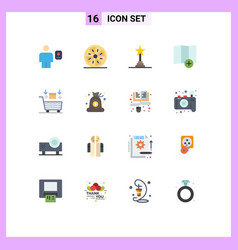 group 16 modern flat colors set for ai map vector image