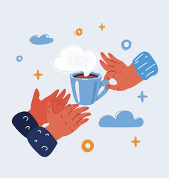 Hand giving a cup of coffee vector