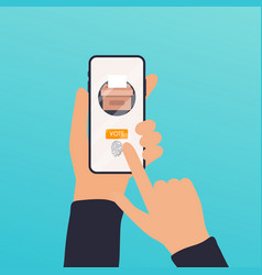 Hand holding smartphone with voting app on the vector
