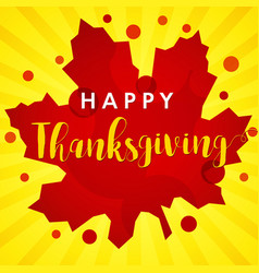 happy thanksgiving red maple leaf banner vector image
