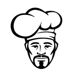 Hispanic chef in a white toque vector