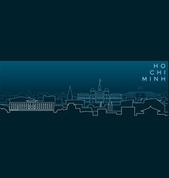 ho chi minh multiple lines skyline and landmarks vector image