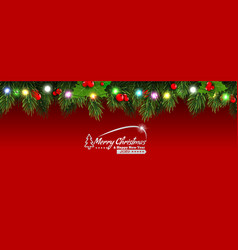 Horizontal christmas border frame with fir vector